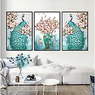 Decal dán tường trang trí phòng ngủ bộ 3 tranh đôi chim công bên hoa Mộc Lan xanh ngọc Tipo_0622 thumbnail