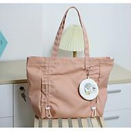Túi tote vải canvas phom ngang phối dây rút trước và túi tròn in hình thời trang COVI nhều màu sắc T2 thumbnail