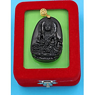 Mặt dây chuyền Phật Văn Thù Bồ Tát thạch anh đen 5 cm kèm hộp nhung phật bản mệnh tuổi Mão thumbnail
