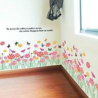 Decal dán tường trang trí phòng khách-Chân tường hoa bướm sắc màu- mã sp DAY870 thumbnail