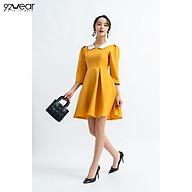 Đầm Váy Nữ 92WEAR Thiết Kế Dài Tay Phối Cổ Ốp Ren DEW0623 thumbnail