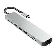 Cổng chuyển USB 8 in 1 HDMI 4K 60Hz USB-C Hub TF SD RJ45 1000Mbps USB 3.0 cho Macbook, PC và Devices - 8in1-1 4K 60Hz thumbnail
