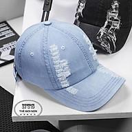 mũ lưỡi trai thời trang, nón jeans rách thời trang cá tính - màu xanh thumbnail