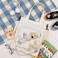Túi tote vải canvas đeo vai gấu dễ thương có khoá kéo tiện lợi Y0080 chất liệu bền đẹp thumbnail