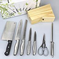 Bộ Dao Inox 8 Món Nhà Bếp FI-017 Có Hộp Đựng Gỗ Tiện Dụng Gồm Các Loại Dao,Kéo,Dụng Cụ Mài Cao Cấp thumbnail