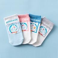 Set hộp 4 đôi tất nữ NICESOKS chất liệu cotton cao cấp, ngắn cổ thể thao, họa tiết Doraemon , hàng chính hãng NS5010FS thumbnail