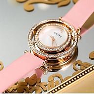 Đồng hồ nữ đeo tay dây da Guou mặt xoay 360 độc đáo chính hãng chống nước tuyệt đối thumbnail