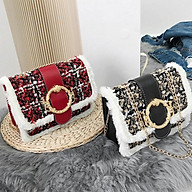 Túi xách nữ phiên bản Hàn Quốc, túi đeo vai vuông nhỏ viền bông - Mimo shop thumbnail