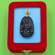 Mặt Phật Đại Thế Chí Bồ Tát - thạch anh đen 3.6cm - kèm hộp nhung - tuổi Ngọ thumbnail