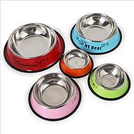 Bát ăn đơn sơn màu inox viền cao cho thú cưng ( màu ngẫu nhiên,size M) thumbnail