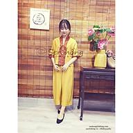 Bộ đi lễ quần áo pháp phục phật tử cao cấp màu Vàng AN252 - vải đũi phối tơ tằm cao cấp hàng thiết kế độc quyền thumbnail