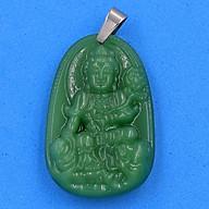 Mặt Phật Bồ Tát Phổ Hiền thạch anh xanh 5cm - phật bản mệnh tuổi Thìn, Tỵ - Móc inox - Mặt size lớn thumbnail