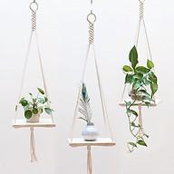 Set 03 dây macrame trang trí dây treo kệ gỗ nhỏ trang trí lọ hoa chậu cảnh phụ kiện trang trí thumbnail