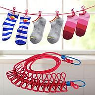 Combo 02 bộ dây phơi quần áo mỗi bộ dây gồm 12 móc kẹp quần áo tiện lợi thumbnail