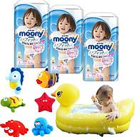 Combo 3 gói tã quần Moony cao cấp size M58 L44 XL38 XXL26 tặng đồ chơi tắm Toys House và chậu tắm phao vịt vàng thumbnail