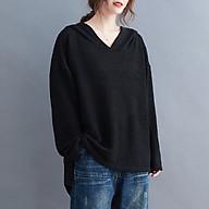 Women Sweatshirt Hooded Long Sleeve Side Split Longer Back Pullover Sweater Loose Casual Oversized Tunic Tops thumbnail