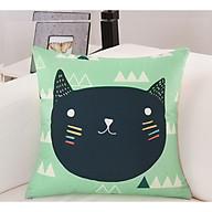 Gối tựa lưng, gối vuông trang trí vải bố dày dặn cao cấp hình mèo thumbnail