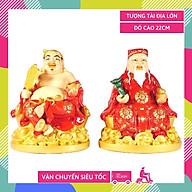 Tượng thờ Thần Tài Thổ Địa lớn vẽ màu áo đỏ - Cao 22cm thumbnail