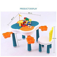 Bộ bàn lego đa năng hoa anh đào, Bàn học cho bé kèm 85 chi tiết Lego thumbnail