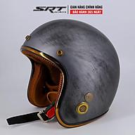 Mũ Bảo Hiểm 3 4 SRT- Viền Đồng - Custom Xám Xước thumbnail