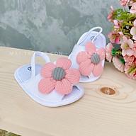 Giày sandan tập đi, đế mềm chống trược, đính hoa xinh xắn cho bé gái sơ sinh 0-12 tháng thumbnail