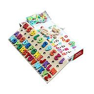 Bảng chữ cái và số cho bé kèm hình khối cột tính bậc thang, đồ chơi học tập, bảng ghép hình bằng gỗ thuộc giáo cụ Montessori giúp phát triển trí tuệ và kỹ năng cho trẻ Tặng Kèm Móc Khóa. thumbnail