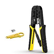 Kìm Bấm Dây Mạng Đa Năng ( RJ45 + RJ11 ) AMPCOM AM-568R, Kèm tool tuốt dây và lưỡi dao - Hàng chính hãng thumbnail
