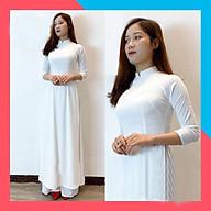 Áo dài trắng 4 tà -Chất liệu Vải lụa Nhật Habutai hoạ tiết trơn , Đủ Size ( hàng kỹ - hình thật ) thumbnail
