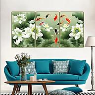 Tranh treo tường 3 tấm- cửu ngư quần hội - Cá chép hoa sen 2392L10 thumbnail