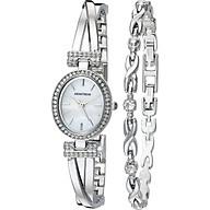 Armitron Women s 75 5381MPSVST Swarovski Crystal Accented Silver-Tone Bangle Watch and Bracelet Set thumbnail