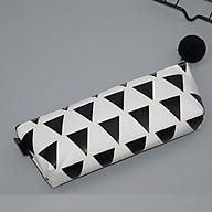 Ví bút vải Canvas hộp phẳng khoá kéo cục bông hoạ tiết nhiều hình tam giác đen thumbnail