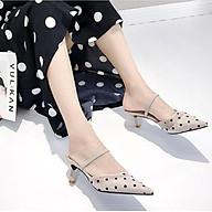 Sandals mũi nhọn bít gót nhỏ 5cm quai hậu chất ren lưới họa tiết chấm bi sang chảnh C29 có thể đi được kiểu sandals hoặc guốc thumbnail