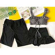 Bikini Caro Viền Bèo Váy Tầng Dễ Thương, Set Đồ Bơi Đi Biển Couple - OS035 thumbnail