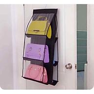 Túi treo giỏ xách 3 tầng 6 ngăn tiết kiệm không gian khỏi bụi bẩn 90 35 cm, giao màu ngẫu nhiên+Tặng kèm móc treo thumbnail
