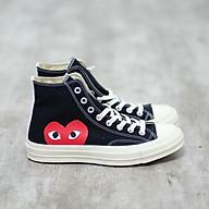 Giày thể thao vải cổ cao Play Heart CDG màu đen in hình trái tim thumbnail