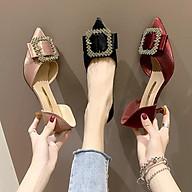 Gia y Cao Go t 4cm Thời Trang Mũi Nhọn Nơ Đính Đá Tiểu Thư Sang Chảnh MBS185 - Mery Shoes thumbnail