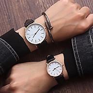 Đồng hồ thời trang nam nữ Gda1 mặt tròn dây da trơn, mẫu đồng hồ cặp siêu đẹp thumbnail