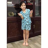 Bộ đồ mặc nhà Pijama bé gái con bò sữa màu xanh thumbnail