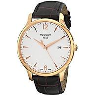 Tissot Men s T0636103603700 Analog Quartz Brown Leather Strap Silver Dial Watch thumbnail