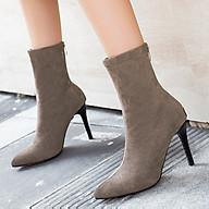 Giày boots nữ cao gót mũi nhọn cổ lửng, bốt nữ da lộn S063 thumbnail