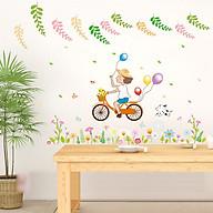 Decal dán tường trang trí phòng ngủ, lớp mầm non- Bé đạp xe bóng- mã sp DSK7147 thumbnail