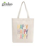 Túi Tote Vải Mộc GINKO Dây Kéo In Hình HAPPY HAPPY Retro Style M25 thumbnail