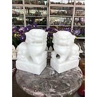 Cặp Kỳ Lân quay đầu phong thủy đá cẩm thạch trắng - Cao 20 cm thumbnail