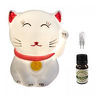 Combo Đèn xông tinh dầu mèo thần tài và 1 chai tinh dầu sả chanh Eco oil 10ml cùng 1 bóng đèn thumbnail