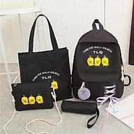 Balo nữ combo 4 món đi học thời trang sinh viên học sinh ba lô set cặp thời trang 3 Con Gà balo nữ vải thumbnail