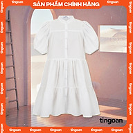 Váy babydoll xòe vai phồng 4 tầng cổ tàu chống nhăn trắng tingoan BLOW ME DRESS WH thumbnail
