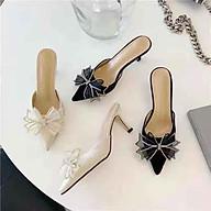 giày sục nữ cao gót 6cm quai nơ họa tiết sang chảnh mã LC02 thumbnail