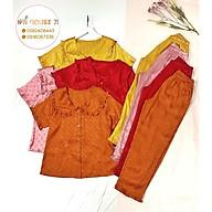 Bộ Gấm Satin Pijama NHIHOUSE71 Bộ Quần Dài Tay Ngăn Gấm Satin Chữ Nỗi Tiểu Thư Cổ Bèo Freesize 45-60kg thumbnail