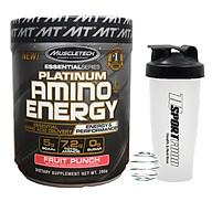 Combo BCAA Platinum Amino Plus Energy của Muscle Tech hương FRUIT PUNCH (Trái cây tổng hợp) hộp 30 lần dùng hỗ trợ tăng sức bền, sức mạnh, đốt mỡ giảm cân mạnh mẽ, phục hồi cơ nhanh chóng cho người tập GYM và chơi thể thao thao & Bình lắc 600ml (Mầu ngẫu nhiên) thumbnail