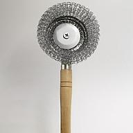 BỘ 3 dụng cụ cọ rửa xoong nồi có tay cầm bằng gỗ thumbnail